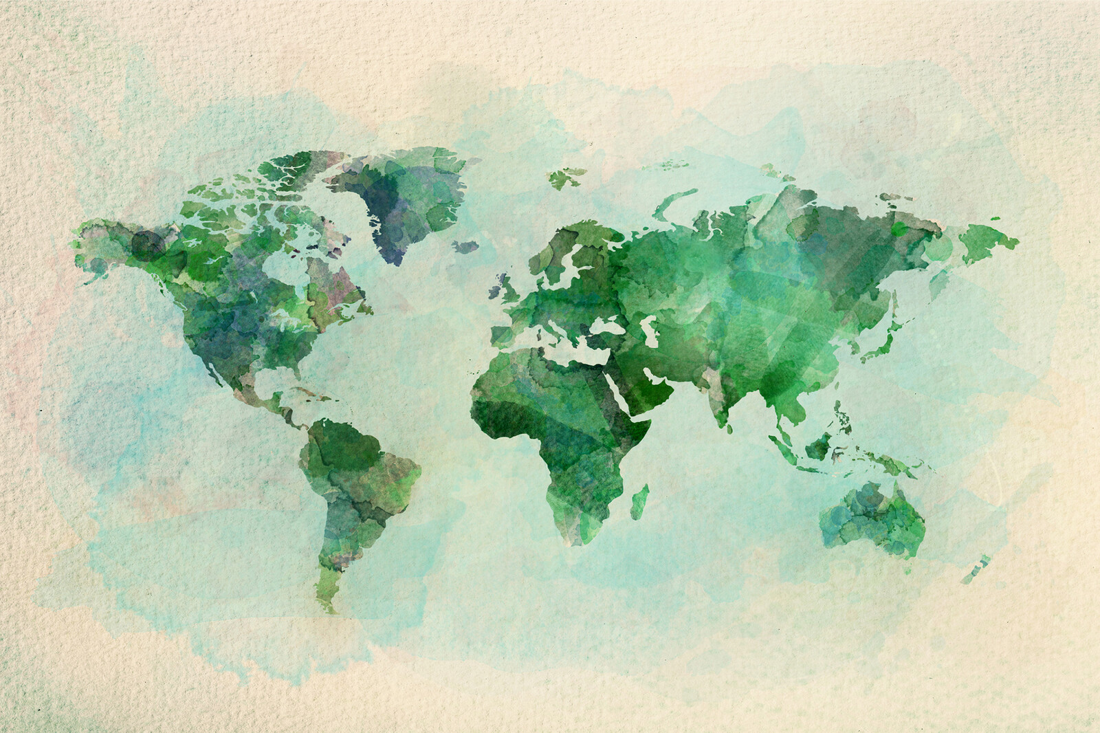 Watercolor illustration of world map